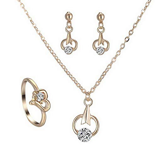 Kaputar Wedding Bridal Prom Crystal Love Heart Necklace Earrings Ring Party Jewelry Set | Model NCKLCS - 19375 |