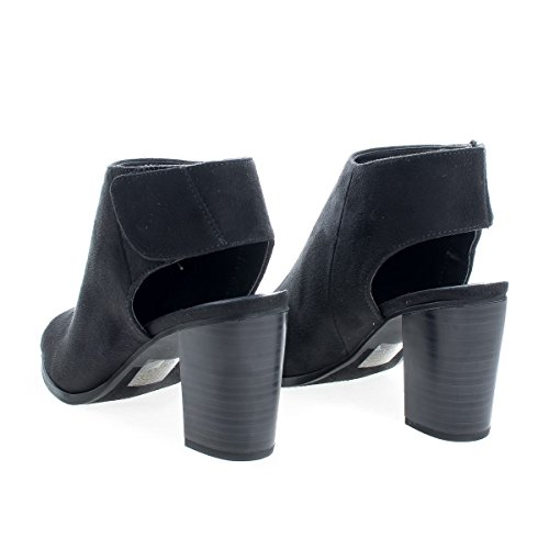 Heel Mule Sling Peep Toe Sandals Hook Back BlackSued Loop And YIY0Ovxw