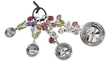 Ganz 4-Piece Measuring Spoons Set - Colorful Flower Bouquet