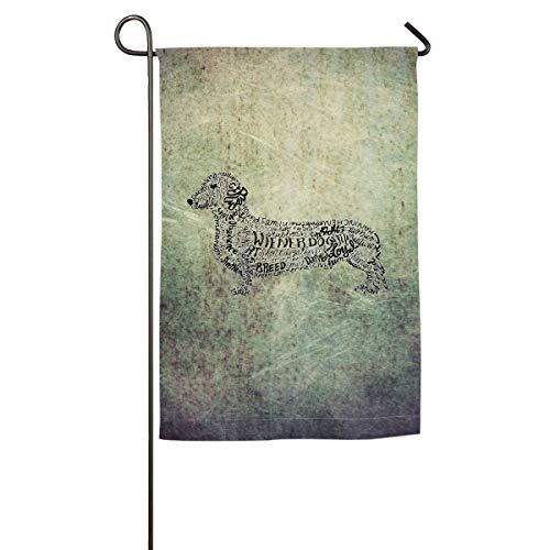 (Seasonal Garden Flag for Outdoors, Dachshund Doxen Weiner Word Art Dog Owner Gift Decoration | Durable,)