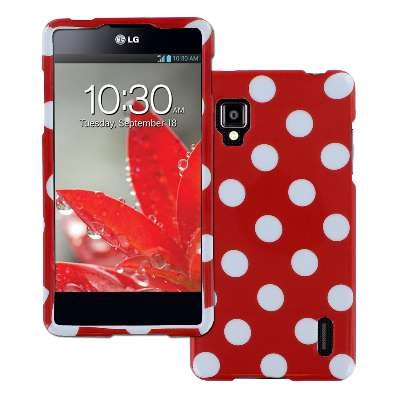 Empire Hard Cover Case for Sprint LG Optimus G LS970 / E975 - Red White Polka Dot (Lg Optimus Sprint Case compare prices)