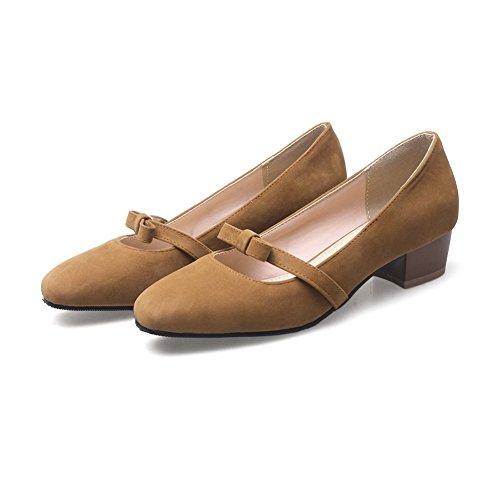 BalaMasa Womens Chunky Heels Square-Toe Bows Suede Pumps Shoes Yellow ugsFm