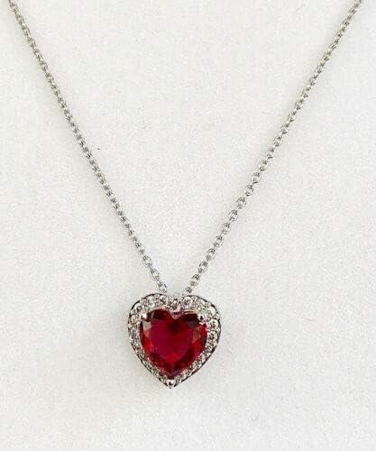 Colgante de diamante con diseño de corazón de rubí rojo con acabado en oro blanco para mamá, esposa, hermana, novia, viene con caja de regalo