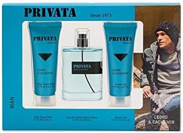 Privata - Cedro & Cachemir Estuche de Regalo para Hombre, Eau de Toilette 75 ml, Gel de Baño 75 ml y After Shave 75 ml