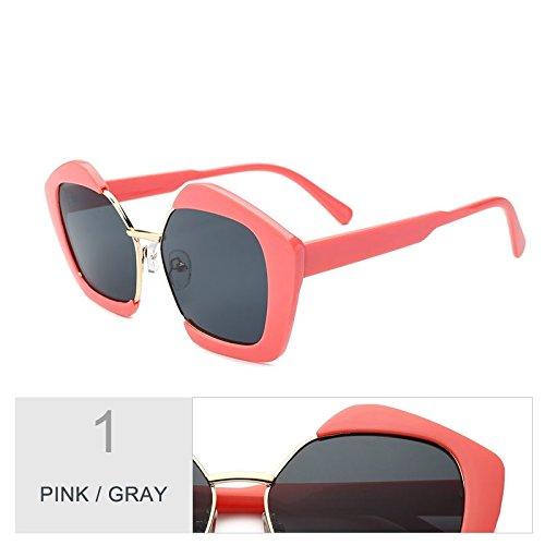 De Gris Gafas Irregular Gafas TIANLIANG04 Señora Escudo Polígono Rosado Sol Uv400 Gray Moda Pink De Sol De qA8BxA