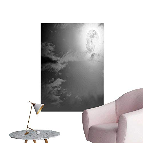 Wall Art Prints Full Moon and Clouds Midnight View Vintage Black and White Style Dramatic Scene for Living Room Ready to Stick on Wall,28