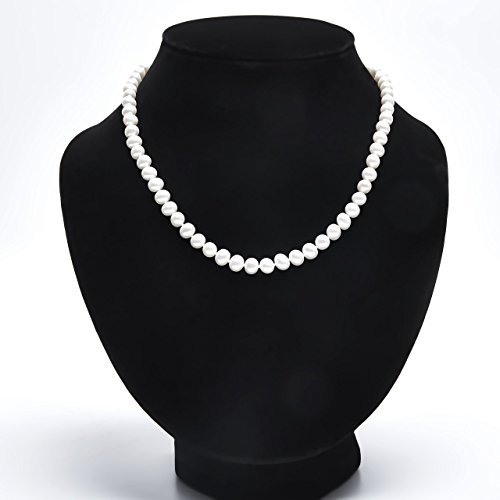 Double Strand 18' Sterling Necklace (Handmade Nearly Round Strand Necklace Freshwater Cultured White Pearl Sterling Silver Buckle 18'', AA+)