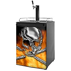 Kegerator Skin - Chrome Skull on Fire (fits medium sized dorm fridge and kegerators)