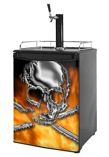 Kegerator Skin - Chrome Skull on Fire