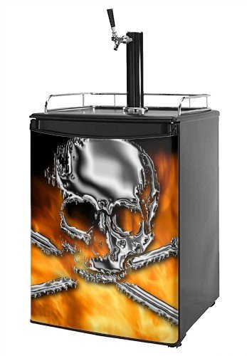 Kegerator Skin - Chrome Skull on Fire (fits medium sized dorm fridge and kegerators)