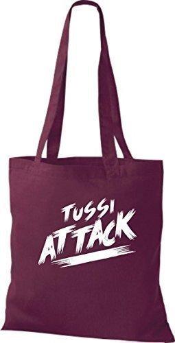 ShirtInStyle Bolsa de tela Bolsa de algodón Tussi Ataque - fucsia, 38 cm x 42 cm Burdeos