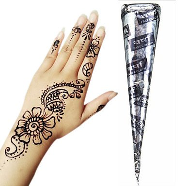 7e77198a04732 Image Unavailable. Image not available for. Colour: Generic Black Herbal  Henna Cones Temporary Tattoo Kit Body Art Mehandi Ink ...