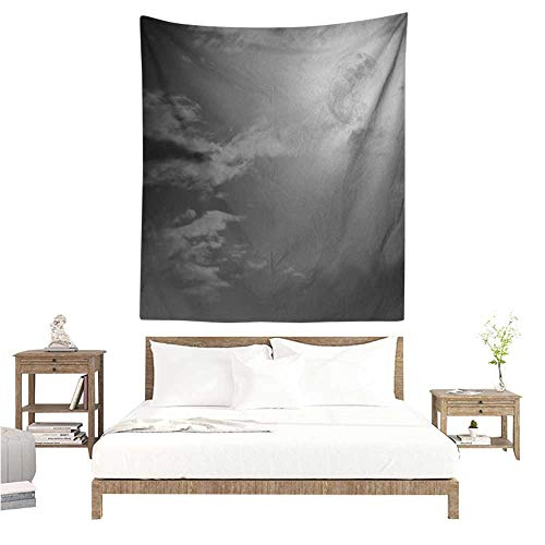 Night Sky Tapestry Full Moon and Clouds Midnight View Vintage Black and White Style Dramatic Scene Tapestry for Home Decor 54W x 84L INCH Black White