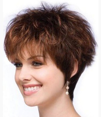 LEJIMEI Short Curly Wigs for White Women Dark Brown Bob Wigs with Bangs Heat Resistant Synthetic Hair Wigs Natural Looking Fashion Full Wigs + Free Wig Cap by LEJIMEI (Image #2)