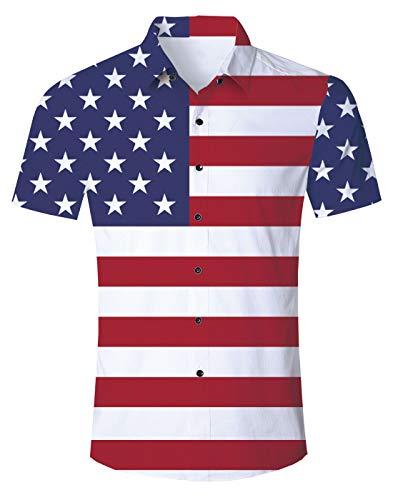 UNIFACO Men Hawaiian American Flag Shirts Short Sleeve Button Down Aloha Shirt ()