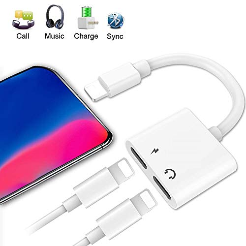 LYZZO Adapter and Splitter for iPhone 7/7 Plus/8/8 Plus/X, Headphone Jack Audio & Charge Cable at The Same time Data Sync Call Function (White)