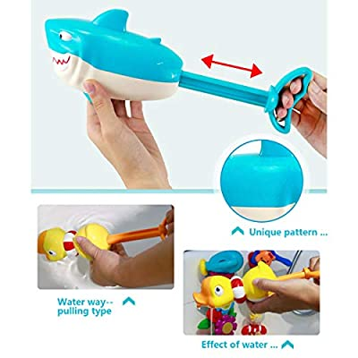 Odowalker Bath Toys Shark Duck Shooter Blaster Animal Soaker Launcher Shooter Pump Pool Beach Kids Bath for Toddlers Kids Child Boys Girls Age 2 3 4 5 6 7 8 Years Old: Toys & Games
