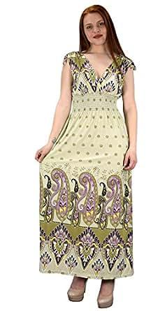 Peach Couture Womens Summer Exotic Floral Bohemian Tahiti Sleeveless Maxi Dress Polka Dot Cream Olive Small