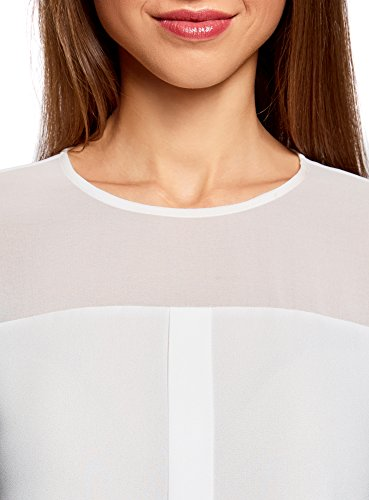 oodji Ultra Mujer Blusa de Gasa con Mangas Largas Blanco (1200N)