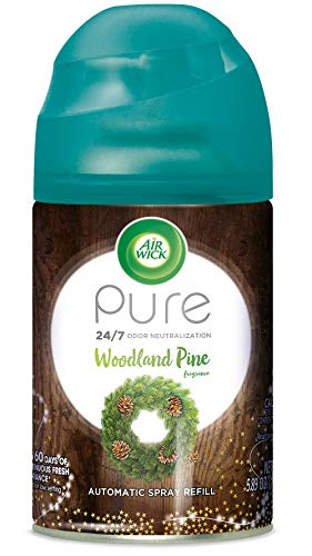 Air Wick Freshmatic Refill Automatic Spray, Woodland Pine, 1ct, Fall scent, Fall spray, Essential Oils, Air Freshener, Odor Neutralization, Packaging May