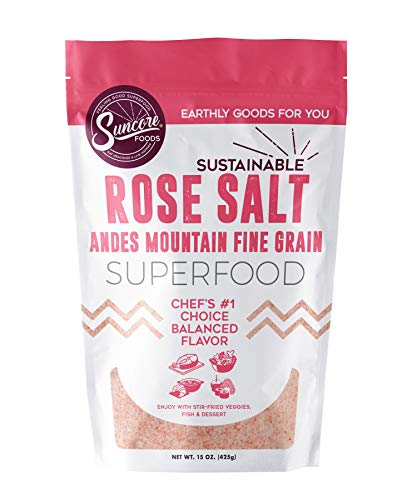 Suncore Foods - Premium Quality Fine Rose Salt (Andean) - 15 oz Resealable - Rose Bolivian