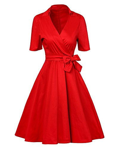 Vestido de Mujer Vintage Retro Elegant Coctel Vestidos de Noche Rojo
