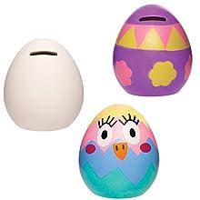 Baker Ross Caja Dinero de Cerámica Huevo de Pascua para niños (Caja de 2) AT429