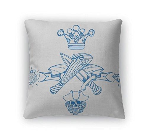 Bat Dagger - Gear New Throw Pillow Accent Decor, Baseball Bat And Dagger, 20