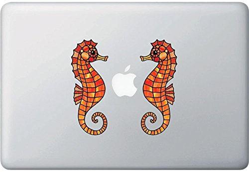 Seahorse PAIR Stained Glass Style Vinyl Decal for Laptop | M