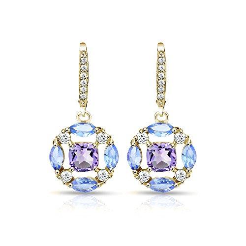 Gold Marquise Amethyst Earrings - 1