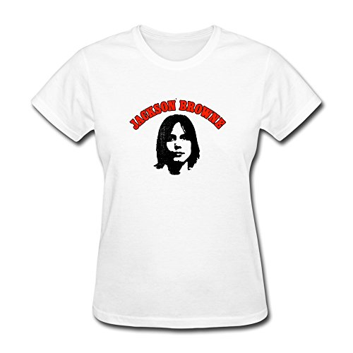 CBOAA Jackson Browne Women's T-Shirt L,White (Jackson Browne Rock Elite Best Of Jackson Browne Live)