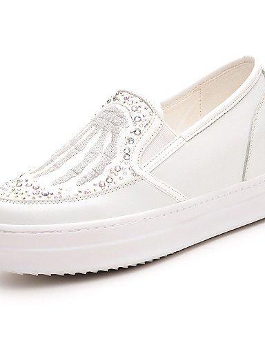 ZQ gyht Zapatos de mujer-Tacón Plano-Comfort-Mocasines-Oficina y Trabajo / Vestido / Casual-Sintético-Negro / Blanco , white-us6 / eu36 / uk4 / cn36 , white-us6 / eu36 / uk4 / cn36 black-us7.5 / eu38 / uk5.5 / cn38