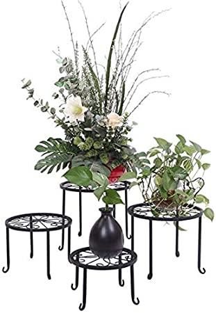 4Pcs Pot Plant Stand Flower Rack Wrought Iron Black Floor-Standing Indoor Garden