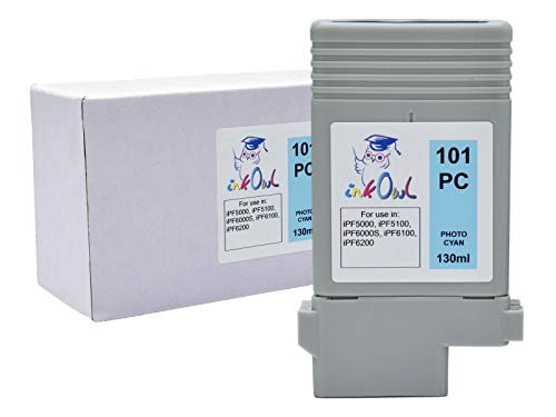 InkOwl Compatible Ink Cartridge Replacement for Canon PFI-101PC (130ml, Photo Cyan) for iPF5000, iPF5100, iPF6000S, iPF6100, iPF6200 - Photo Pfi 101pc