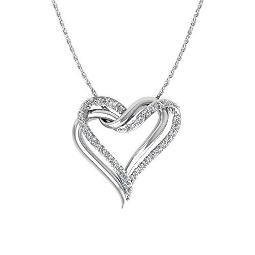 10k White Gold 2 Heart Prong Set Diamond Pendant Necklace (0.15 Carat)
