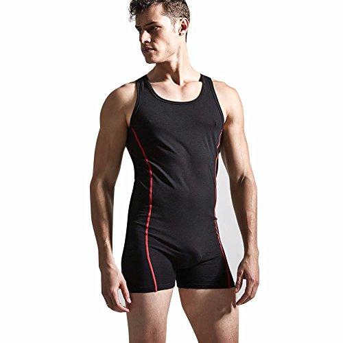 a941038706 iEFiEL Men Sleeveless One-Piece Bodysuit Jumpsuit Boxers Leotard Sports  Singlet Lounging Underwear
