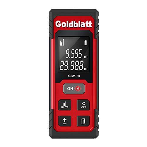 Goldbaltt Laser Measure - 100Ft Digital Tape Measurement for Distance Area Volume Pythagorean Calculation, Batteries Included