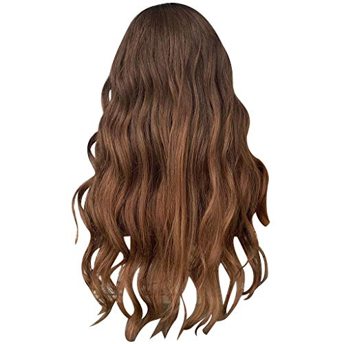 Natural Brown Lace Front Wig Long Curly Synthetic Wigs for Black Women (M) ()