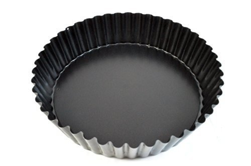 (Paderno World Cuisine 47719-24 Deep Non-Stick Removable Base tart pan, 9.5in, Black)
