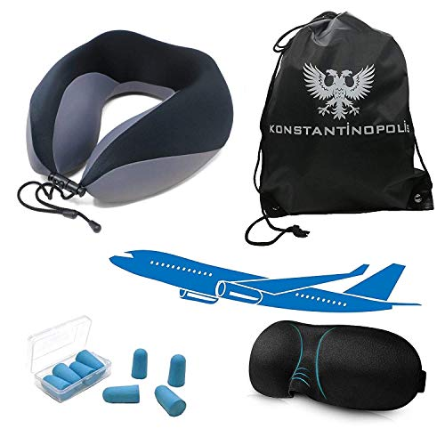 Konstantinopolis ✈︎ Washable Travel Memory Foam Neck Support Pillow for Airplanes - with Comfortable Voyage 3D Sleep Eye Mask, Compact Naps EarPlugs and The Best Traveling Kit Carry Bag, Black/Gray