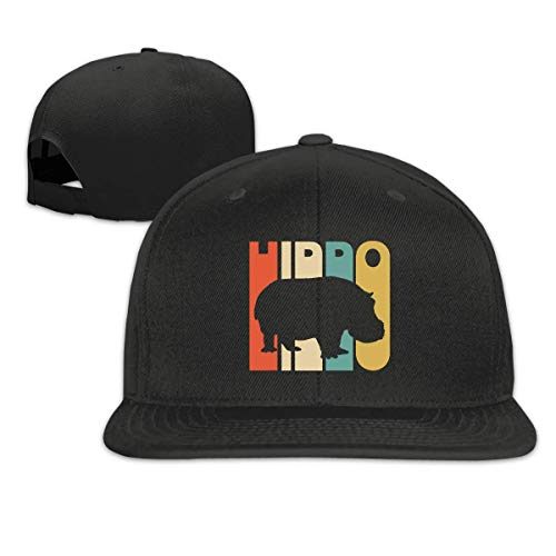 Vintage Style Hippo Silhouette Baseball Hats Men and Women Flat Billed Adjustable Vintage Street Rapper Hat White