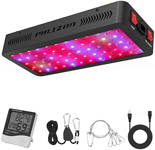 Phlizon Newest 600W LED Plant Grow Light,with Thermometer Humidity Monitor,with Adjustable Rope,Full Spectrum Double Switch Plant Light for Indoor Plants Veg and Flower- 600W 10W LEDs 60Pcs