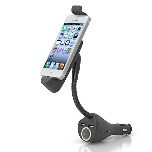 - OHMYGO 3 in 1 Dual USB Port Car Charger Cigarette Lighter Socket Mount Holder Gooseneck Stand Cradles Support Kit for iPhone 5 6 7 8 S Plus X Cell Phone GPS MP3 Player