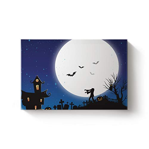 Modern Canvas Wall Art Artworks for Bedroom Living Room,Horror Halloween Pumpkin Bats Night Design Oil Painting for Home Office Decoration,Stretched by Wooden Frame,Ready to Hang 24