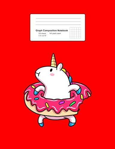 """Price comparison product image Graph Composition Notebook: Math,  Physics,  Science Exercise Book - Unicorn Donut Float Cute Magical Animal Summer Girls Gift - Red 5x5 Graph Paper - ... Teens,  Boys,  Girls - 7.5""""x9.75"""" 100 pages"""