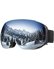 ENKEEO Skibrille Magnet Snowboardbrille Anti-Nebel UV-Schutz Winddicht Ski Schutzbrille mit Austauschbare sphärische rahmenlose Linse für Skifahren, Motorrad, Fahrrad, Skaten (Blau)