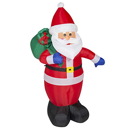 Best Choice Products 4ft Pre-Lit Indoor Outdoor Inflatable Santa Claus Christmas Holiday Home Decoration w/ UL-Listed Blower, Lights, Ground Stakes  - Red
