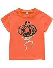 Rixin Toddler Boys Girls Halloween T-Shirt Pumpkin Skeleton Tee Shirt Tops Kids Halloween Costume Gift