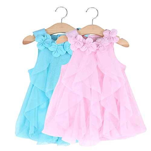 Little Toddler Girls Summer Mini Dresses Baby Cute Pure Color Blue Turn Down Collar Dresses Size 1Y 1T