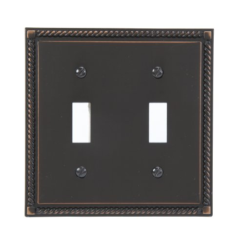 Amerelle 54TTVB Georgian 2 Toggle Wallplate, Aged (2 Light Switchplate Cover)